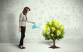 Business Woman Pouring Water On Lightbulb Growing Tree Royalty Free Stock Photos - 51068268