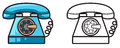 Colorful And Black And White Telephone For Coloring Book Royalty Free Stock Photography - 51072337