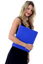 Happy Young Business Woman Carrying A Blue Office Box File Stock Photo - 51073360