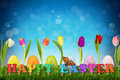 Easter Eggs With Tulips Royalty Free Stock Photos - 51084608