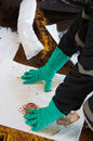 Oil Spill Cleanup On Working Area. Danger For The Nature Royalty Free Stock Images - 51102739