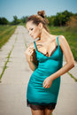 Sexy Young Woman Posing Outdoors Royalty Free Stock Photography - 51127287