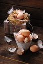 Rustic Still Life With Eggs In Vintage Wooden Bucket For Easter Stock Photography - 51150112
