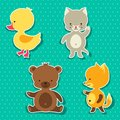 Little Cute Baby Cat, Bear, Fox And Duck Stickers Stock Photography - 51153522