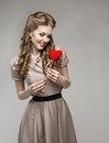 Woman Heart, Love Dreams, Retro Lady Portrait, Valentine Present Stock Images - 51155414