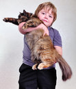 Cute Blond Boy With A Cat Royalty Free Stock Image - 51157256