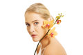 Beautiful Spa Woman With Orange Orchid Stock Photo - 51163540