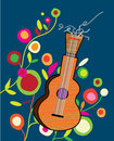 Musical Background With Guitar And Flower Royalty Free Stock Photo - 51184605