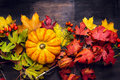 Beautiful Pumpkin On Colorful Autumn Leaves, Dark Wooden Background Stock Photos - 51185953