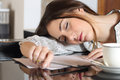 Tired Overworked Woman Resting While Writing Notes Stock Photos - 51186633