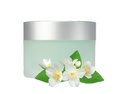 Glass Jar Of Face Cream And Jasmine Flowers Isolated On White Royalty Free Stock Photo - 51191005