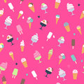 Ice Cream Pattern - Pink Background. Stock Photos - 51192083