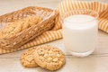White Chocolate Chip Cookie And Milk Glass, Filtered Image Stock Images - 51192244