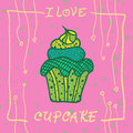 Hand Drawn Invitationfor Card  With Cupcakes,  Best For Party Cafe Or Restaurant Stock Image - 51196991