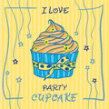 Hand Drawn Invitationfor Card  With Cupcakes,  Best For Party Cafe Or Restaurant Stock Photos - 51197503