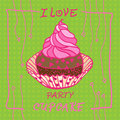 Hand Drawn Invitationfor Card  With Cupcakes,  Best For Party Cafe Or Restaurant Stock Photo - 51197980