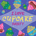 Hand Drawn Invitationfor Card  With Cupcakes,  Best For Party Cafe Or Restaurant Stock Photography - 51198742