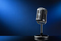 Retro Microphone On Blue Royalty Free Stock Photo - 51225065