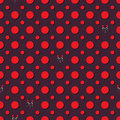 Red Circle Hidden Cat Seamless Pattern Royalty Free Stock Images - 51230179