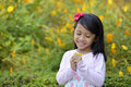 Happy Little Girl Playing Outside Stock Images - 51234114