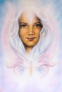 Beautiful Airbrush Painting Of A Young Girls Angelic Face With R Stock Images - 51234404