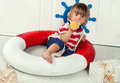 Little Boy In Life Preserver Stock Images - 51239514