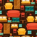 Interior Seamless Pattern With Furniture In Retro Stock Photo - 51242790