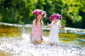 Two Sisters Having Fun By A River Royalty Free Stock Photography - 51252597