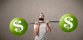 Skinny Guy Lifting Green Dollar Sign Weights Stock Photo - 51265040