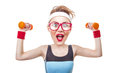 Funny Sports Woman With Dumbbell Stock Photography - 51268612