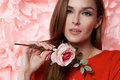 Beautiful Sexy Woman In Dress Many Flowers Makeup Summer Spring Stock Image - 51276201