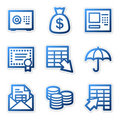 Banking Icons, Blue Contour Stock Images - 5132004