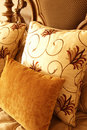 Colorful Cushions On The Bed Stock Photo - 5139210
