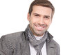 Smiling Fashionable Man Wearing A Scarf And Gray Clothes Stock Images - 51340564