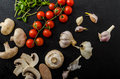 Bio Garlic, Spices And Wild Mushrooms From The Home Garden Royalty Free Stock Images - 51344409
