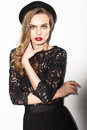 Vogue. Classy Fashion Model In Dark Lacy Blouse Royalty Free Stock Photos - 51355278