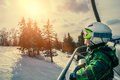 Little Skier On The Ski Lift Stock Images - 51371454