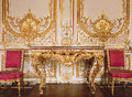 Versailles, France - 10 August 2014 : Wood Wall With Gold Ornaments At Versailles Palace ( Chateau De Versailles ) Stock Images - 51376324