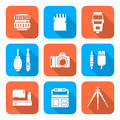 White Color Flat Style Square Digital Photography Tools Icons Stock Images - 51407754