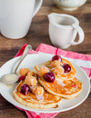 Pancakes With Cherry, Raspberry And Vanilla Sauce Stock Photography - 51408342