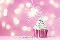 Pink Cupcake With Sparkler Stock Photography - 51414602