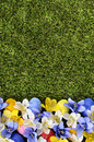 Easter Background Border With Painted Eggs Hidden Among Flowers, Green Grass Copy Space, Vertical Royalty Free Stock Photography - 51423537
