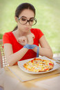 Funny Hungry Woman With Hands Tied With Measure Tape Stock Image - 51427381