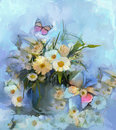 Abstract Flower Oil Painting With Butterfly Royalty Free Stock Photos - 51438918