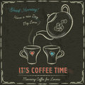 Brown Blackboard With A Two Cup Of Hot Coffee And Kettle, Vector Royalty Free Stock Photography - 51441217