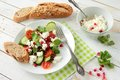 Salad With White Cheese And Vegetables Stock Photos - 51475523