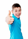 Portrait Of A Boy Pointing Finger Showing Emotions Expressive On A White Background With A Blue Shirt Stock Images - 51479794