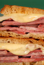Closeup Of Corned Beef Sandwich With Cheese On Rye Royalty Free Stock Image - 5159496