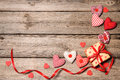 Gift Box With Red Ribbon With Textile Hearts Stock Photos - 51501723
