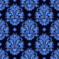Seamless Floral Damask Wallpaper In Blue Colors Stock Photography - 51507522